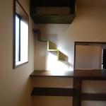 新居浜和モダンキッチン飾り棚、無垢床