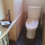 西条モダン和風新築 トイレ、造作手洗い、腰壁