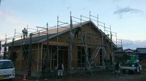 S様邸の新築和風住宅の上棟完了