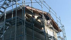 西条市玉津新築建売住宅 和モダン 外壁左官塗仕上げ風景
